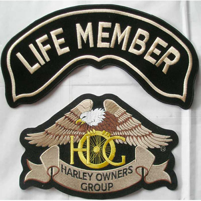 Large 12 inch life member hog patch harley owners group   #45458641.